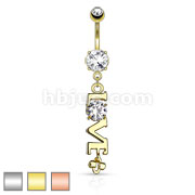 LOVE Word with Clear CZ Dangle Navel Ring