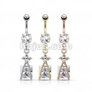 Dozen Pack Roped Square CZ and Small CZ Flower Dangle 316L Surgical Steel Navel Belly Ring