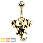 316L Surgical Steel Belly Ring with Elephan