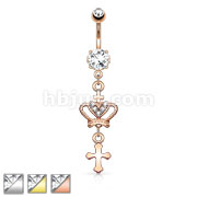 Heart CZ Crown with Cross Dangle Navel Ring