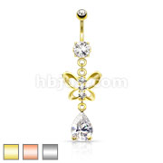 Clear CZ Paved Butterfly and Tear Drop Cut CZ Navel Ring