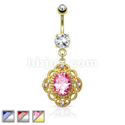 Oval CZ Centered Triabl Floral Design Dangle 316L Surgical Steel Belly Button Rings
