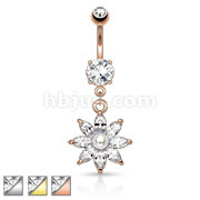 Pearl with Marquise CZ Petal Flower Navel Ring