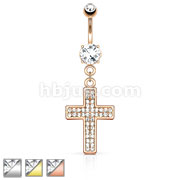 Gem Paved Cross Dangle Navel Ring