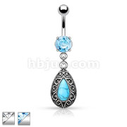 Turquoise Centered Vintage Tear Drop Dangle Belly Button Ring