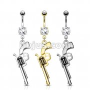 Dozen Pack Gun Dangle CZ Prong Set 316L Surgical Steel Navel Belly Rings