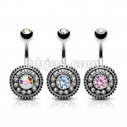 Dozen Pack Multi Paved Vintage Shield 316L Surgical Steel Navel Belly Rings