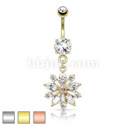 Flower Center Prong Set CZ Multi Gem Petals 316L Surgical Steel Dangle Navel Ring