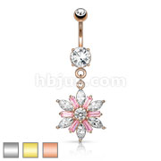 Flower Center Prong Set CZ Multi Color Gem Petals 316L Surgical Steel Dangle Navel Ring