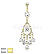 Multi Gem Teardrop and Tassel CZ Dangle 316L Surgical Steel Navel Ring