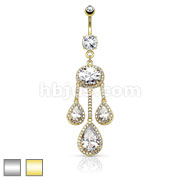 3 Pear CZ Centered Paved CZ Drop From Large Oval CZ Dangle 316L Surgical Steel Belly Rings