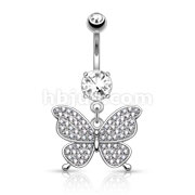 Micro Paved CNC Set CZ Butterfly Dangle 316L Surgical Steel Belly Button Navel Rings
