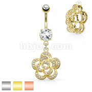 Micro Paved CZ Set Petals Camellia Dangle 316L Surgical Steel Belly Button Navel Rings
