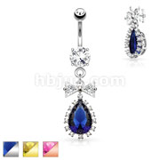CZ Ribbon and Large Tear Drop CZ Center Dangle 316L Surgical Steel Belly Button Navel Rings