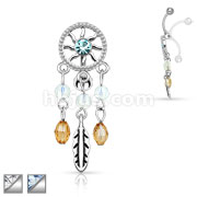 Center CZ Dream Catcher Dangle Chandelier Top Down 316L Surgical Steel Navel Ring