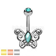 Turquoise Centered Filigree Butterfly 316L Surgical Steel Belly Button Navel Rings