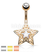 CZ Centered Filigree Star 316L Surgical Steel Belly Button Navel Rings