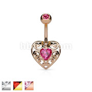 Vintage Filigree Heart with Heart Crystal Center 316L Surgical Steel Belly Button Navel Rings
