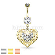 Tribal Heart Filigree Edged Crystal Paved Heart Dangle 316L Surgical Steel Belly Button Navel Rings