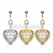 Dozen Pack Crystal Set Tribal Net Heart Dangle 316L Surgical Steel Belly Button Navel Rings