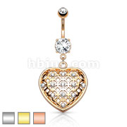 Crystal Set Tribal Net Heart Dangle 316L urgical Steel Belly Button Navel Rings