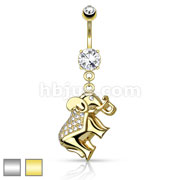 CZ Paved Elephant Dangle 316L Surgical Steel Belly Button Navel Rings
