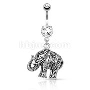 Elephant Dangle 316L Surgical Steel Belly Button Navel Rings