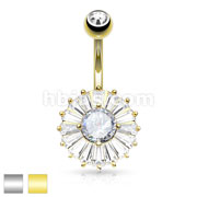 CZ Center and Princess Cut CZ Around Double Tier Round 316L urgical Steel Belly Button Navel Rings