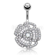 Princess Cut CZ Filled Center and Micro Pave CZ Set Triple Tier Camellia 316L Surgical Steel Belly Button Navel Rings