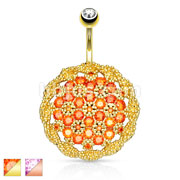 Large CZ Paved Floral Shield 316L Surgical Steel Belly Button Navel Rings