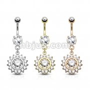 Dozen Pack Claw Set CZ Around CZ Center Dangle 316L Surgical Steel Belly Button Navel Rings