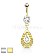 Tear Drop CZ Centered DiaCut Filigree Dangle 316L Surgical Steel Belly Button Navel Rings