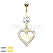 Crystal Paved Hollow Heart with Love Dangle 316L Surgical Steel Belly Button Navel Rings