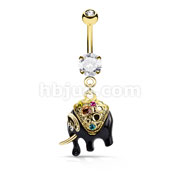 Multi Color Crystals Gold and Black Elephant Dangle 316L Surgical Steel Belly Button Navel Rings