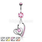 CZ Centered Double Heart with Micro Pave CZ Dangle 316L Surgical Steel elly Button Navel Rings