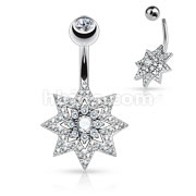 Micro Pave CZ Sunburst with Double Tier Round CZ Set Center 316L Surgical Steel Belly Button Rings