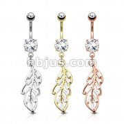 Dozen Pack CZ Paved Leaf Dangle 316L Surgical Steel Belly Button Navel Rings
