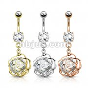 Dozen Pack Large CZ Incased Camellia Flower Dangle 316L Surgical Steel Belly Button Navel Rings