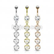 Dozen Pack Four Vertical Drop CZ Set Hearts Dangle 316L Surgical Steel Belly Button Navel Rings