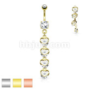 Four Vertical Drop CZ Set Hearts Dangle 316L Surgical Steel Belly Button Navel Rings