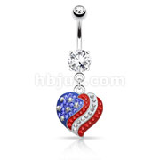 Crystal Paved American Flag Heart Dangle 316L Surgical Steel Navel Ring