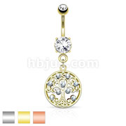 CZ Set Tree of Life Dangle on Round CZ Prong set 316L Surgical Steel Belly Button Rings