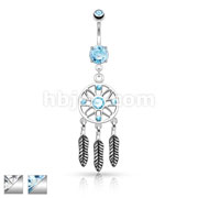 Three Feather Drops Dream Catcher Dangle 316L Surgical Steel Belly Button Rings