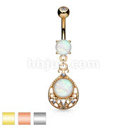 Opal Glitter Center Vintage FiligreeDangle Surgical Steel Belly Button Navel Rings