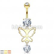 Hollow Butterfly and Round CZ Drop Dangle CZ Prong Set 316L Surgical Steel Belly Rings