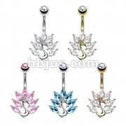 50 Pcs Marquise CZ Peacock 316L Surgical Steel Belly Button Navel Rings Pack (10pcs x 5 colors)