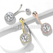 CZ Around Round Prong Set CZ Center Double Tier 316L Surgical Steel Belly Button Navel Rings