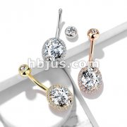 CZ Around Ova Prong Set CZ Center Double Tier 316L Surgical Steel Belly Button Navel Rings