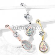 Rainbow Glitter Opalite Stone Dangle 316L Surgical Steel Belly Button Navel Rings