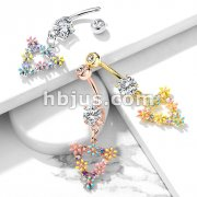 AB CZ and Flowers Triangular Dangle CZ Set 316L Surgical Steel Belly Button Navel Rings